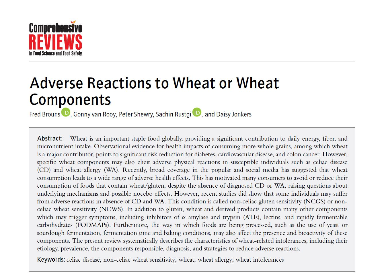 Comprehensive Reviews: Adverse Reactions to Wheat or Wheat Components