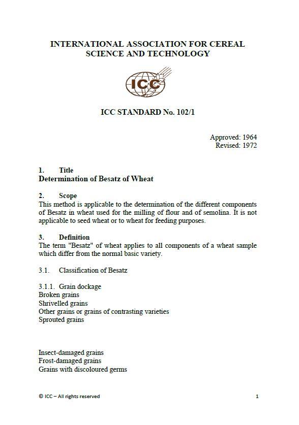 102/1 Determination of Besatz of Wheat [PDF]