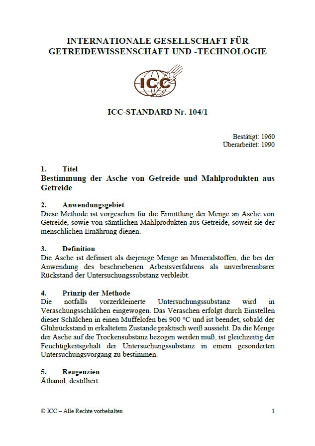 104/1 Bestimmung der Asche von Getreide und Mahlprodukten aus Getreide [PDF]