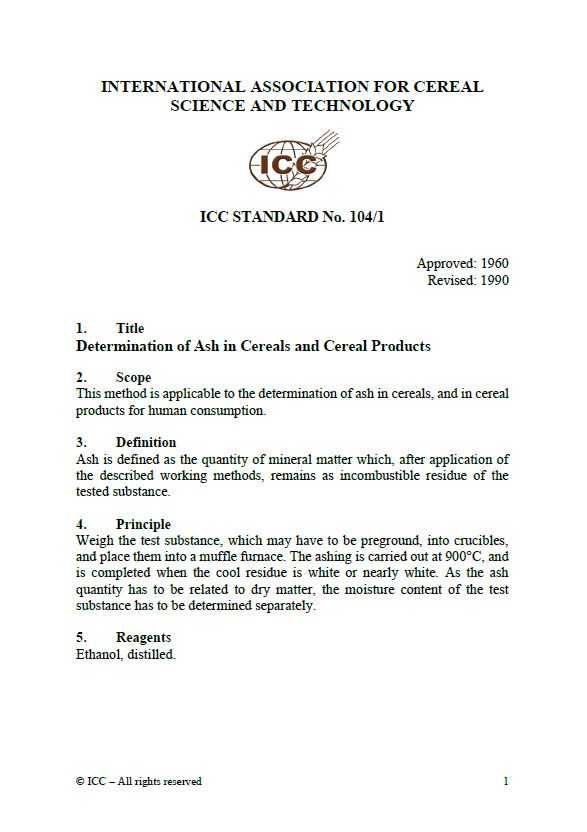 104/1 Determination of Ash in Cereals and Cereal Products [PDF]