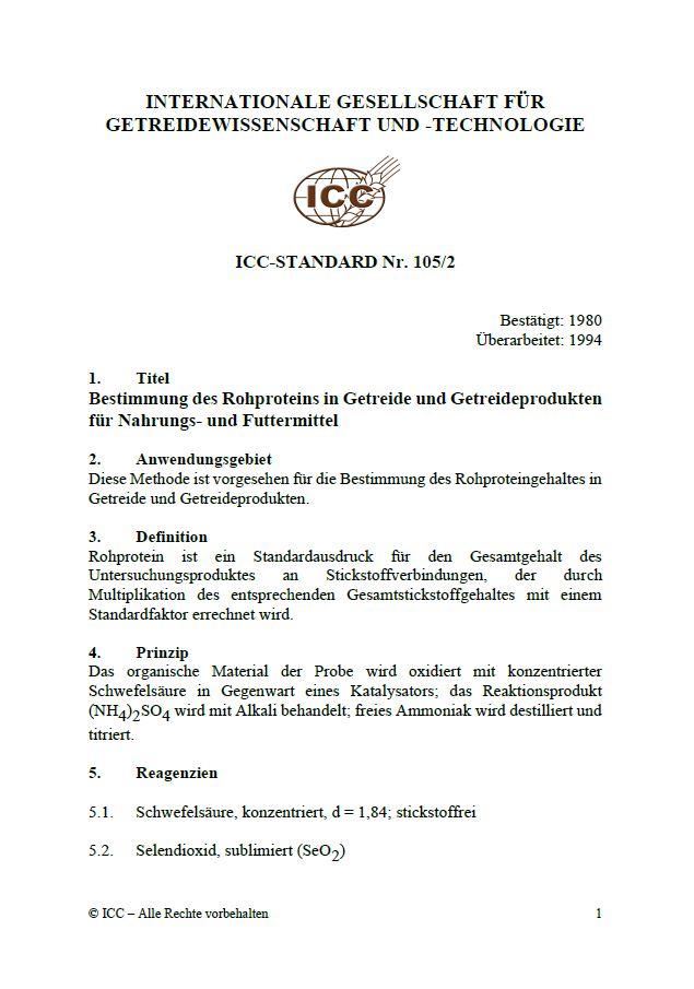 105/2 Bestimmung des Rohproteins in Getreide und Getreideprodukten für Nahrungs- und Futtermittel [PDF]