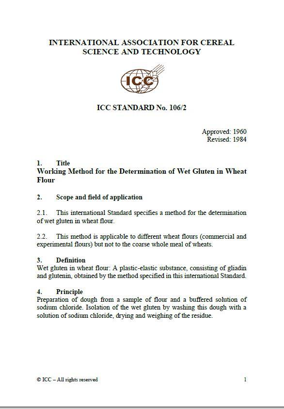 106/2 Working Method for the Determination of Wet Gluten in Wheat Flour [PDF]