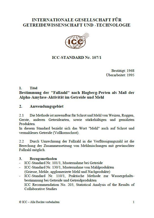 107/1 Bestimmung der 'Fallzahl' nach Hagberg-Perten als Maß der Alpha-Amylase-Aktivität im Getreide und Mehl [PDF]