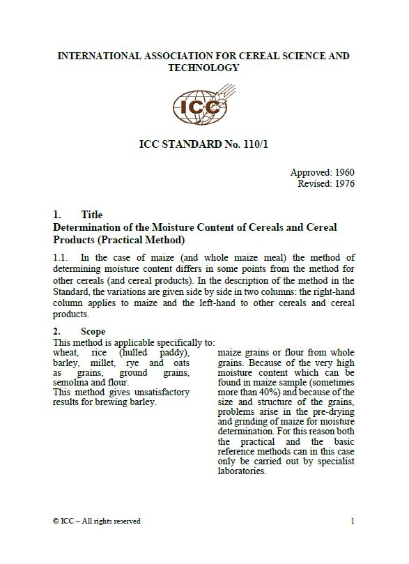 110/1 Determination of Moisture Content of Cereals and Cereal Products (Practical Method) [PDF]