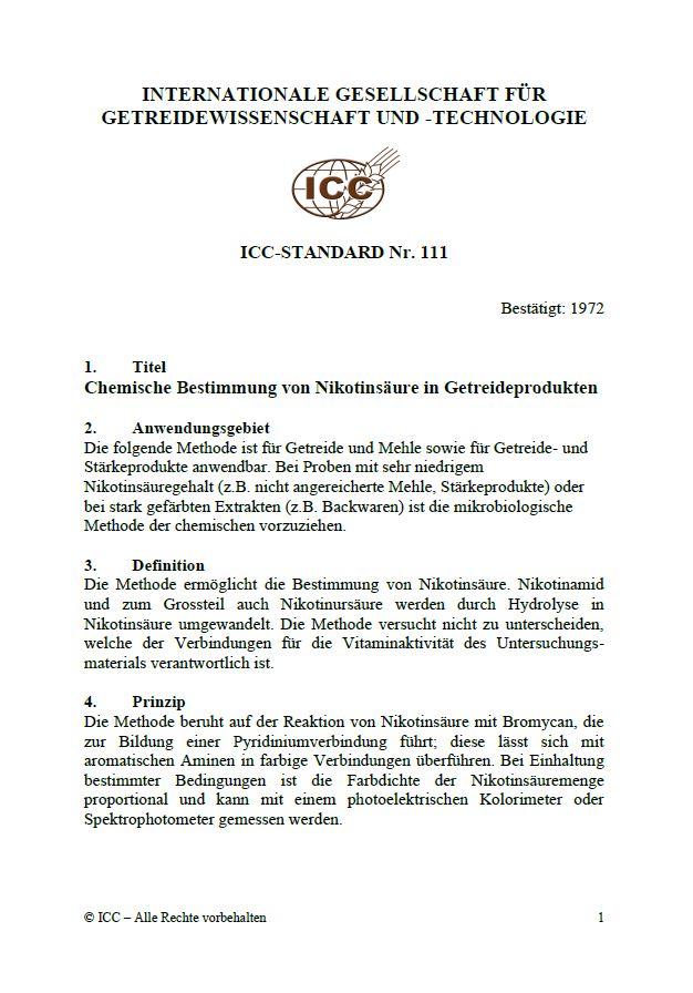 111 Chemische Bestimmung von Nikotinsäure in Getreideprodukten [PDF]