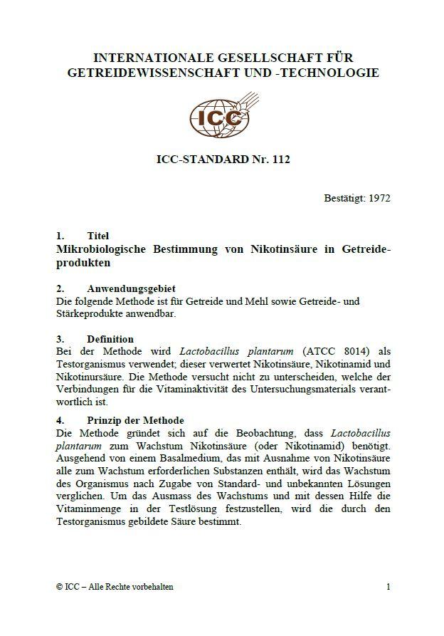 112 Mikrobiologische Bestimmung von Nikotinsäure in Getreideprodukten [PDF]